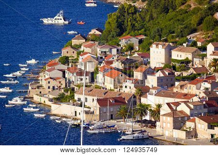 Idyllic coastal village of Vis island Dalmatia Croatia