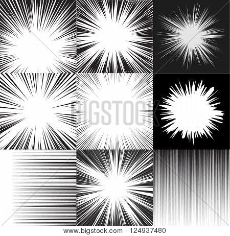 Comic book speed horizontal lines background set of nine editable images