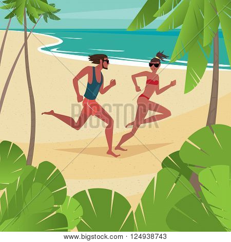 Young cute couple in swimsuits frolics on the beach - Honeymoon or love concept