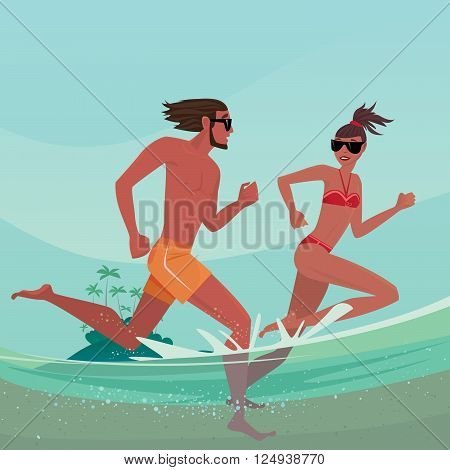 Happy romantic young couple in swimsuits that running together in shallow water. Split view of over surface and underwater - Vacation or honeymoon concept