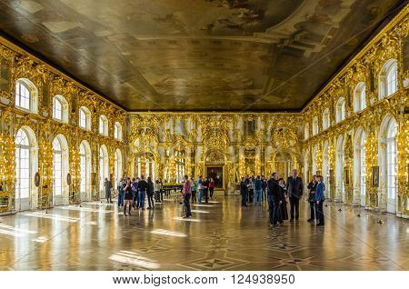 TSARSKOYE SELO RUSSIA - MARCH 12: Interior of Catherine Palace at March 12 2016 in Tsarskoye Selo (Pushkin) Russia