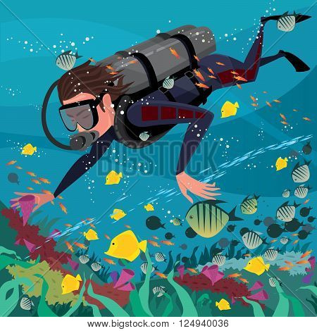 Man diver in wetsuit and with scuba exploring coral reef - Underwater world or scuba diving concept poster