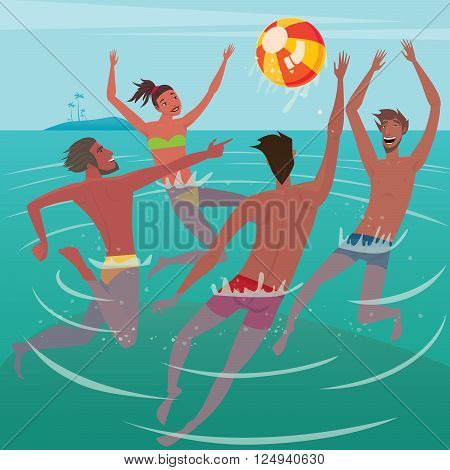 Several happy young men and woman up to the waist in water playing with the ball - Activity or leisure concept