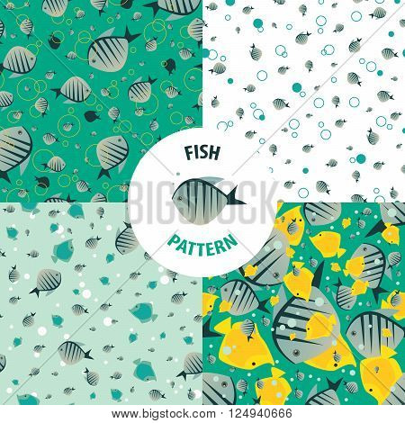 Set of vector fish patterns with striped small fishes of saturated color. Primary colors green and yellow