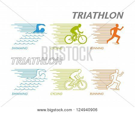 Colored set of silhouettes of athlete. Linear figure triathlete. Cool logo for triathlon on white background. Modern symbol for triathlon.