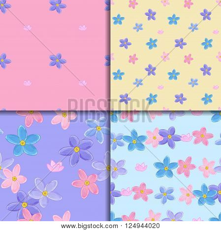 Floral seamless pattern set with forget-me-not. Four backgrounds with  forget me not flowers.