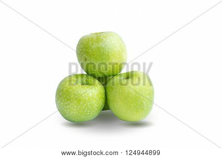 Group of green apples isolated on white background.
