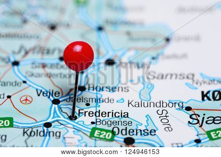 Fredericia pinned on a map of Denmark ** Note: Shallow depth of field