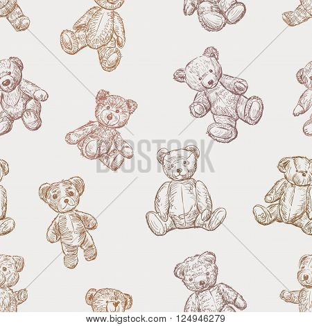 Vector pattern of the various vintage teddy bears.