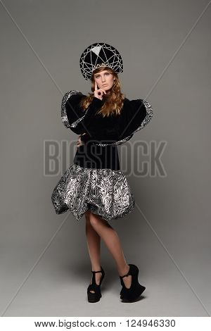 Young Girl In Th Dress Of Russian Style