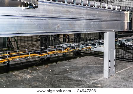 Closeup view on technology line in industrial building