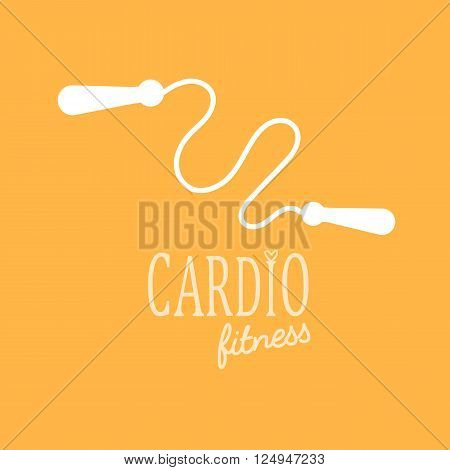 Flat icon vector illustration of a jump rope cardio training.