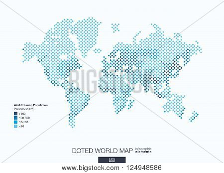 Useful infographic template. Set of graphic design elements, choropleth world map. World human population info. Doted Vector illustration.