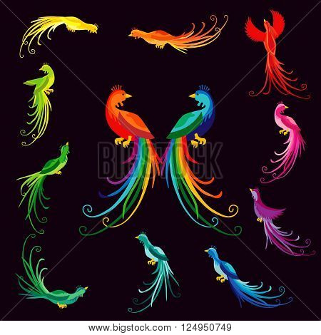The colorful ethnic peacocks. The colored vintage birds of paradise with rainbow tailes.