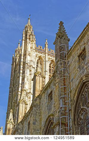 Detail of Canterbury Cathedral in Canterbury in Kent of England. It is one of the most famous cathedrals in England. It is the Archbishop of Canterbury Cathedral.
