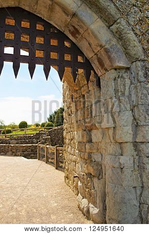 Gate of Leeds Castle in Kent in England. The castle was built in the twelfth century as a king residence. Now it is open to the public.