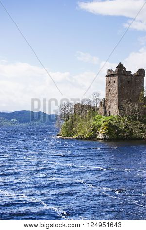 Grand Tower of Urquhart Castle in Loch Ness in Scotland. Loch Ness is a city in the Highlands in Scotland in the United Kingdom.