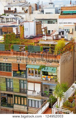 View to houses in Avinguda Diagonal in Barcelona. Barcelona is the capital of Spain. Avinguda Diagonal is the name of many famous avenues in the center of Barcelona.