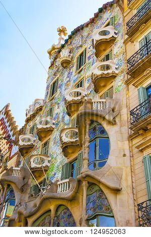 BARCELONA SPAIN - AUGUST 14 2011: Windows of Casa Batllo building in Barcelona in Spain. It is also called as House of Bones. It was designed by Antoni Gaudi Spanish architect.