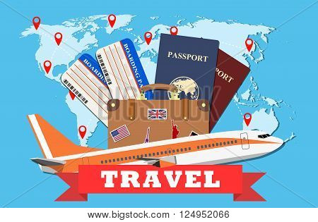 Travel and tourism concept. Air tickets, passports and travel suitcase with funky stickers and world map, civilian plane, tourism and planning, vector illustration. Travel Concept.