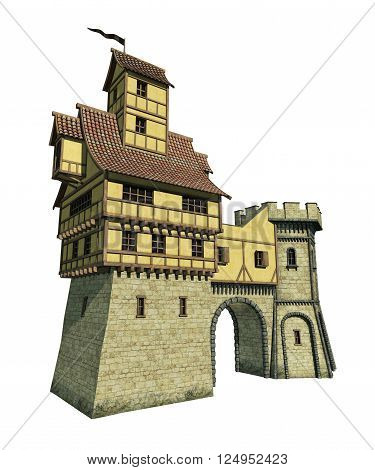 3D rendering of an isolated fantasy gatehouse.