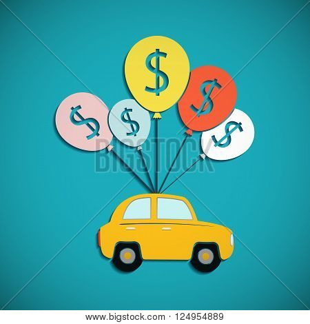 Car is hanging on the balloons. Credit for the purchase of vehicles. Flat graphic. Stock vector illustration.