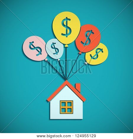 House is hanging on the balloons. Mortgages for the purchase of real estate. Flat graphic. Stock vector illustration.