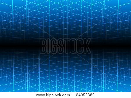 Vector blue grid light technology vector background. illustration vector design