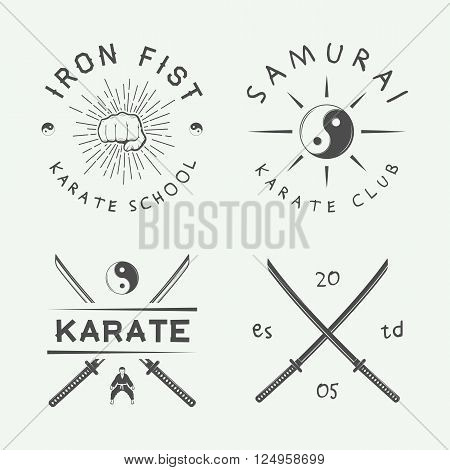 Set of vintage karate or martial arts logo emblem badge label and design elements in retro style. Illustration