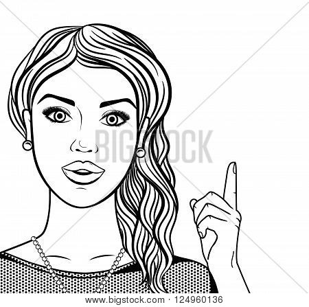 Line art woman smiling face with hand pointing up isolated black and white vector illustration