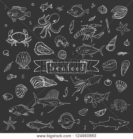 Hand drawn doodle Seafood icons set Vector illustration seafood symbols collection Cartoon fish Crab Seafood platter Lobster Oyster Shrimp Shellfish Shrimp Background for your menu or design