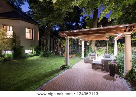 Garden With Patio At Night