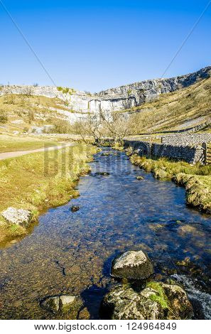 Malham Beck and Cove in North Yorkshire, England. Stream feeds into the River Aire.