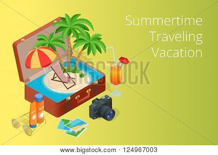 Trip to Summer holidays. Travel to Summer holidays. Vacation. Road trip. Tourism. Travel banner. Open suitcase with landmarks. Journey. Travelling 3d isometric illustration.