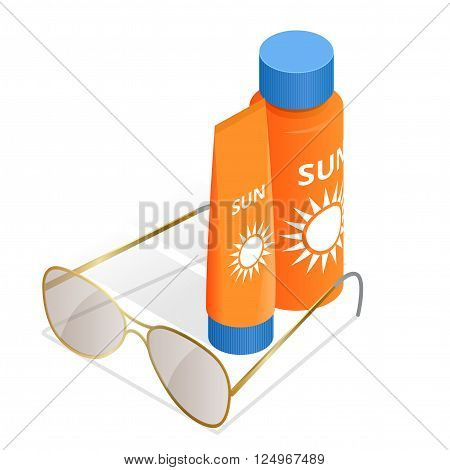 Bottles of sunscreen lotion and sunglasses. Tube container of sun cream isolated on white glossy background. Summer, sun tanning and sunscreen concept