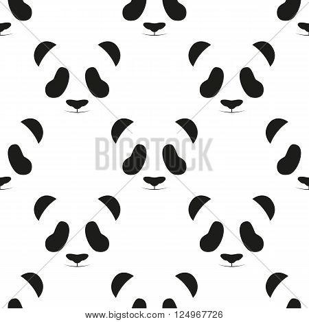 Panda head seamless pattern. Animal seamless pattern. Asian bear seamless pattern