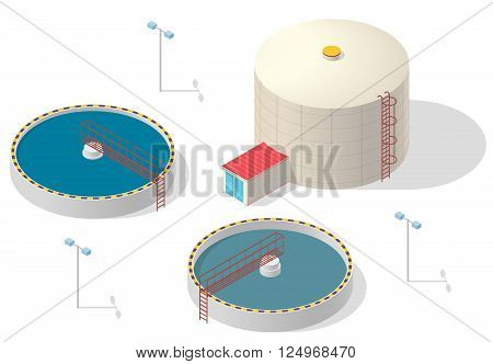 Big bacterium purifier factory on white background. Water treatment isometric building info graphic. Scientific illustration. Pictogram industrial chemistry cleaner set. Flatten isolated master vector