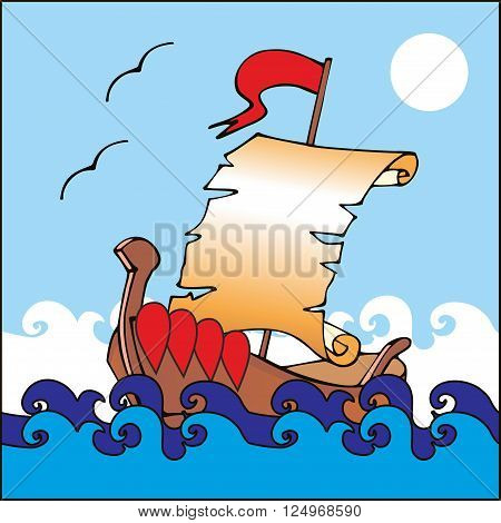 Illustration of boat with unrolled scroll as a sail. Vector card.