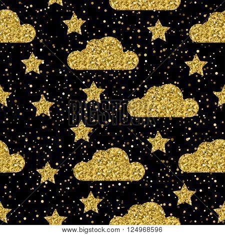 Sparkle Abstract Seamless Pattern Background. Golden Glitter Texture.