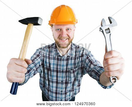 Man in the orange helmet with a hammer wrench