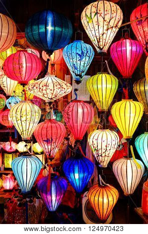 Close up shot of some Colorful lanterns in Hoi An Vietnam