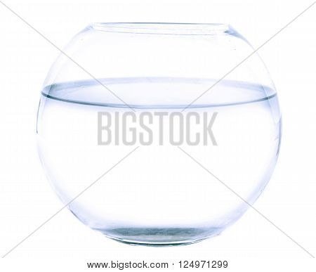 empty fishbowl in front of white background