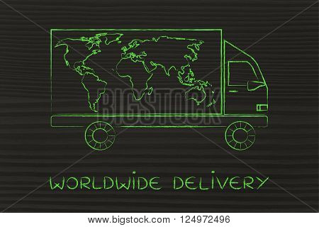 worldwide delivery: delivery company truck vehicle with world map design worldwide shipping concept