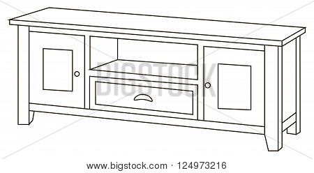 Vector illustration of traditional and wooden bureau