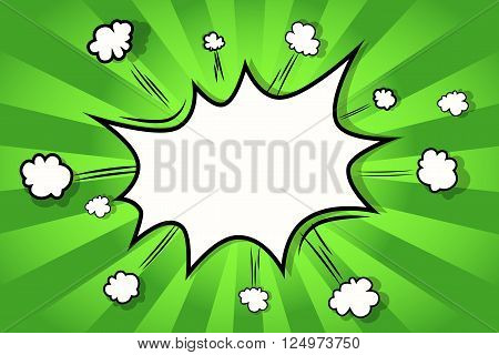 Background. Boom comic book explosion comic style green lime background