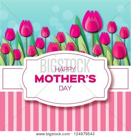 Pink Floral Greeting card - International Happy Mothers Day - 8 May- with Bunch of Spring Tulips. Flower stripes holiday background. Beautiful bouquet. Trendy Design Template. Vector illustration.