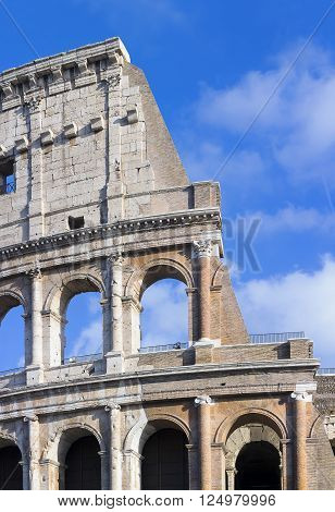 Restored Coliseum, detail of the main facade.