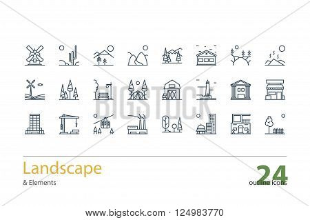 Landscape, Architecture outline icons. Line art. Stock vector.