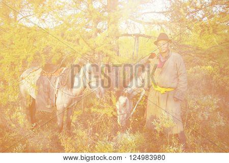 Mongolian Tsataan With Horses Concept
