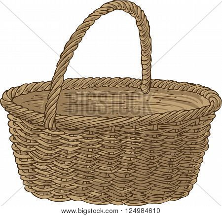 Empty Wicker Basket. Isolated on a White Background